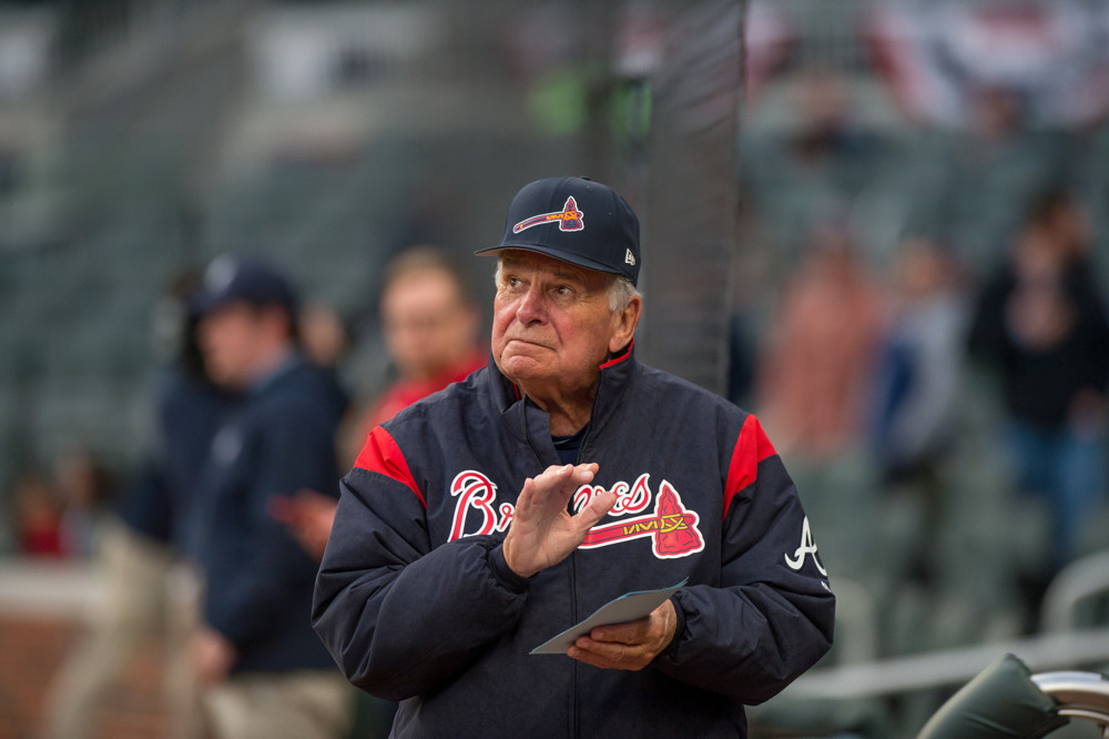 3c0ee9c382bc6b ATLANTA, GA - MARCH 27: Atlanta Braves Hall of Fame former manager Bobby Cox  (6) during the MLB Spring Training baseball game between the New York  Yankees ...