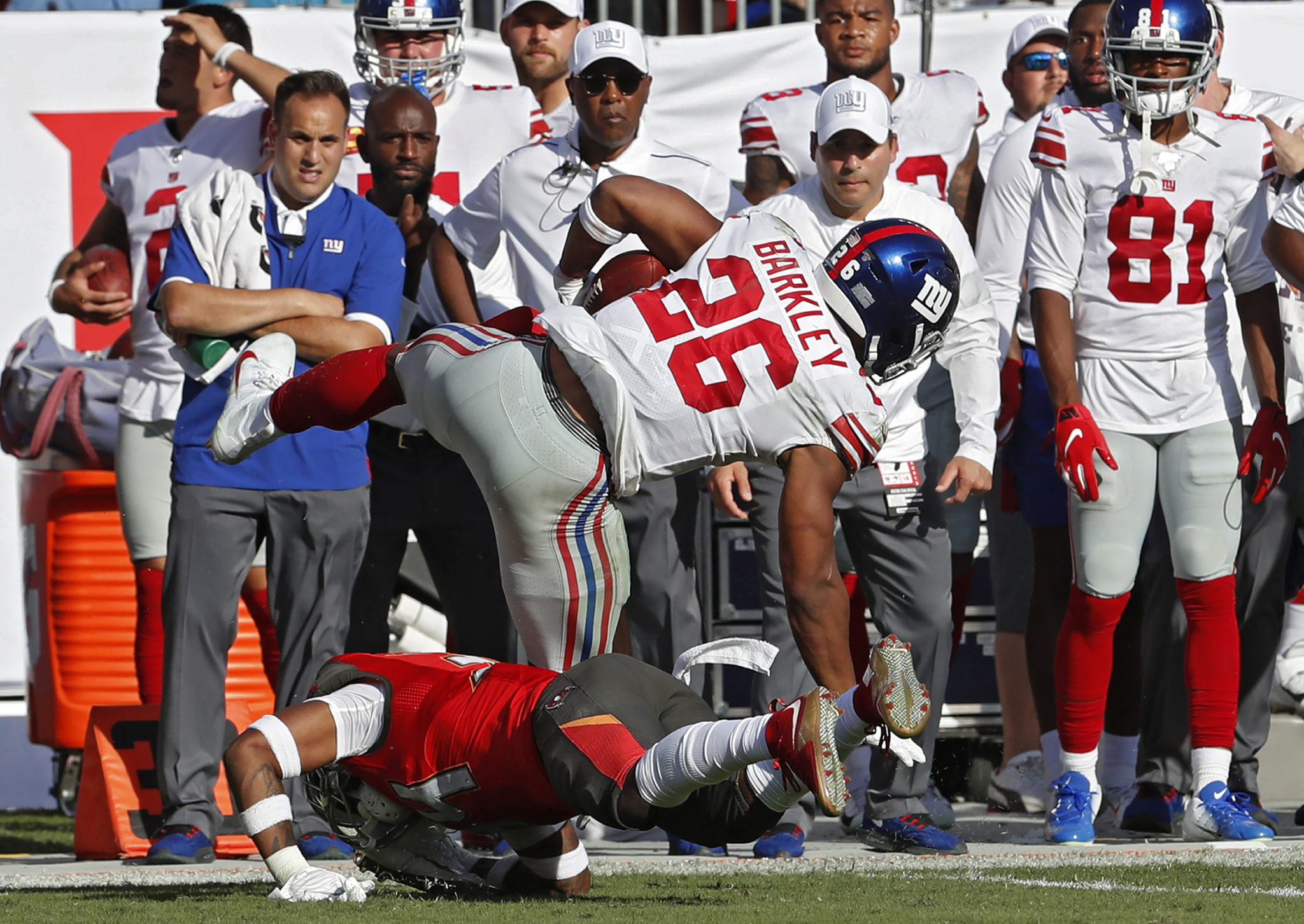 big sale 6ee9f b067f Saquon Barkley has high ankle sprain, time out uncertain